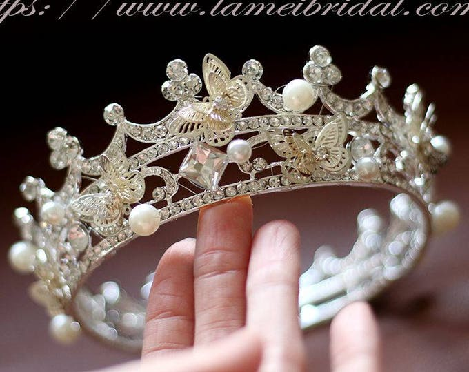 Small Loyal Queen Wedding hair crown, Princess Crystal Wedding Tiara,Sliver Crystal Bridal Tiara,Wedding cake Crown,Wedding ring crown