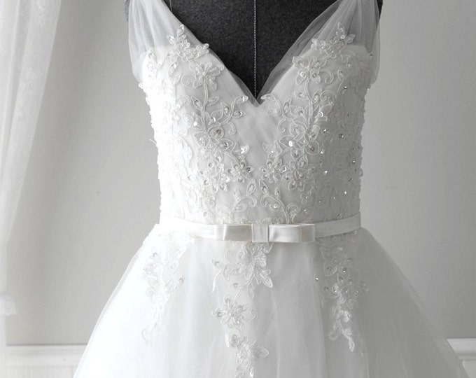 Custom Made to Order Classic V Neck Vintage Style Wedding Dress with Deep V Back  Flowy Tulle with A-Line Eyelet Lace Tulle Skirt