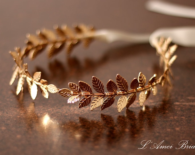 Gold Leaf Headband Tiara, Gold Wedding Hairband Bridal Hair Accessory Bridal Headband Leaf Crown