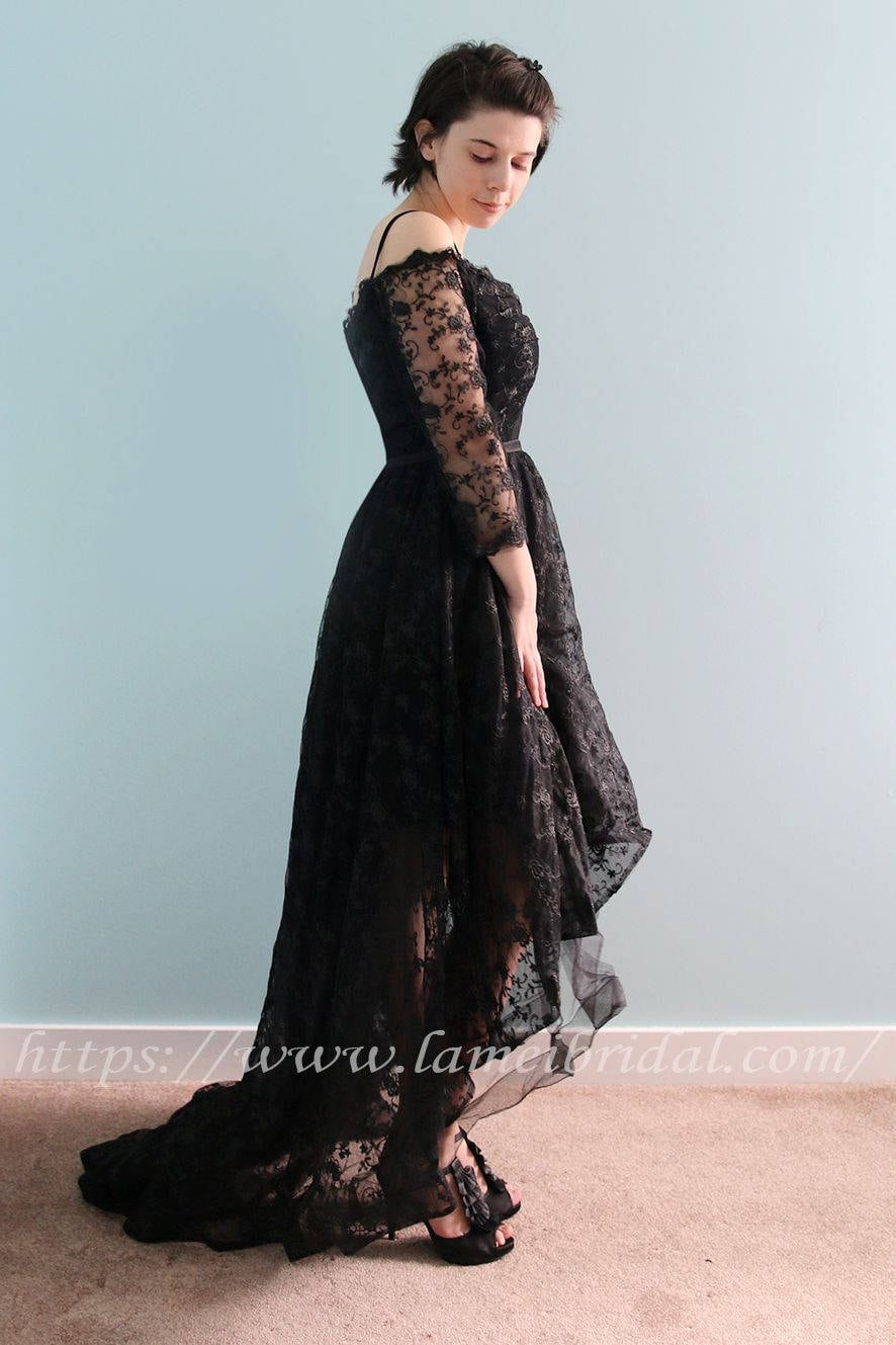 3444a69347b ... Long Evening Prom Graduation lace Dress with off shoulder 3 4 sleeves.  gallery photo gallery photo gallery photo gallery photo gallery photo  gallery ...
