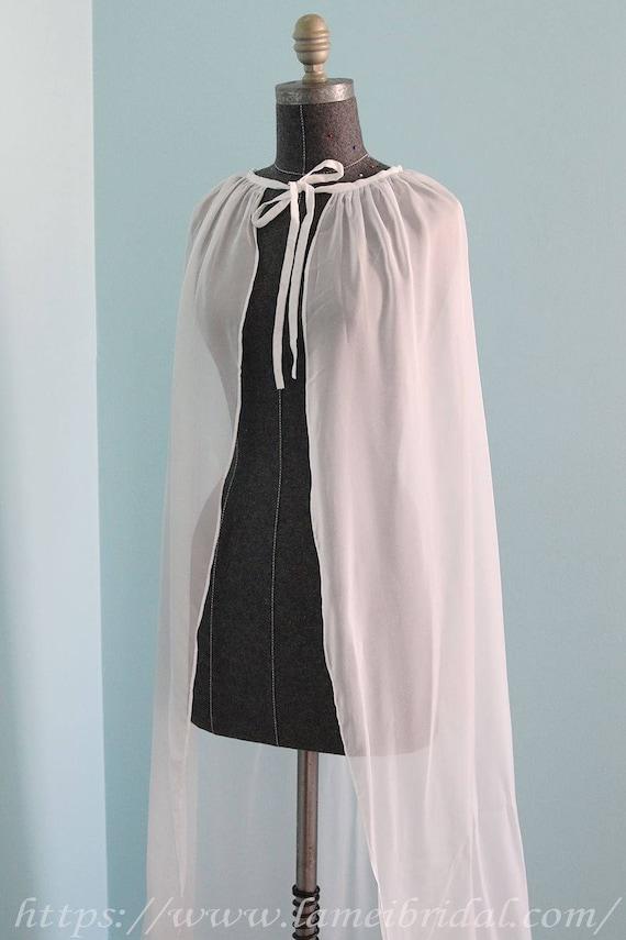 Chic Simple Floor Length Wedding Bridal Cape in Silk