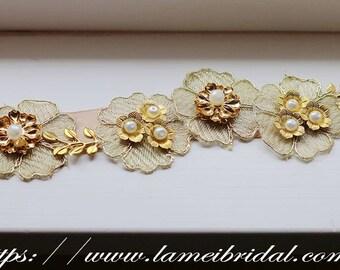Golden Lace Flower Wedding Bridal Belt with Champagne ribbon Sash, Gold flower dress belt, ribbon dress belt, gold bridal belt, leaf belt