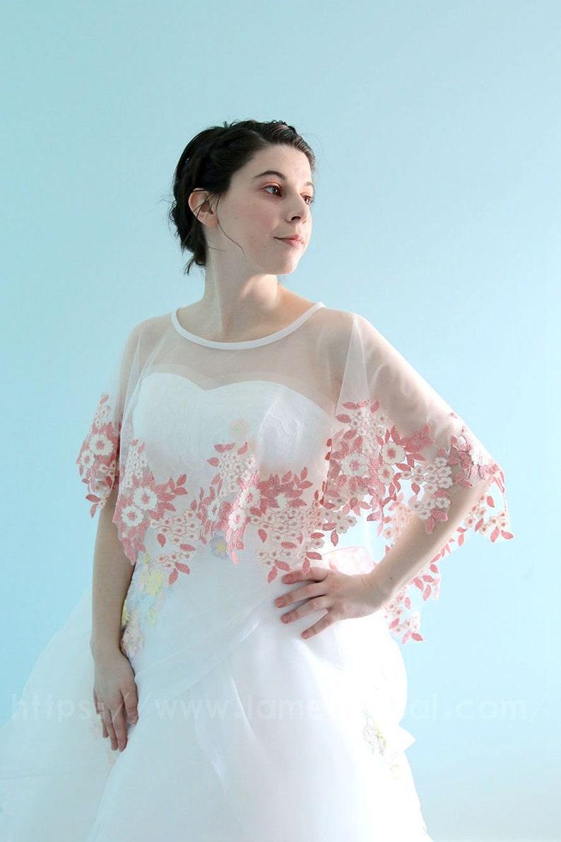 2470b3dd1fb Chic Pink flower lace on soft Tulle Bridal Shaw Blush bridal