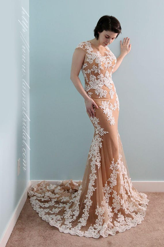 Nude And White Trumpet Style French Lace Wedding Dress Etsy