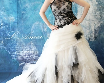 Black Gothic Style Tulle Wedding Bridal Dress Ball Gown with White / Black Flowers and High Neck Collar - YS198220978