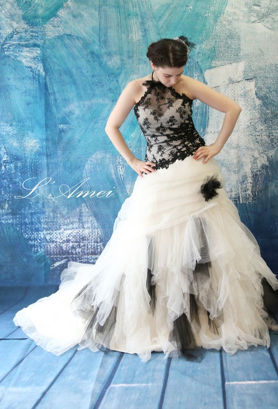 Black Gothic Style Tulle Wedding Bridal Dress Ball Gown With Etsy