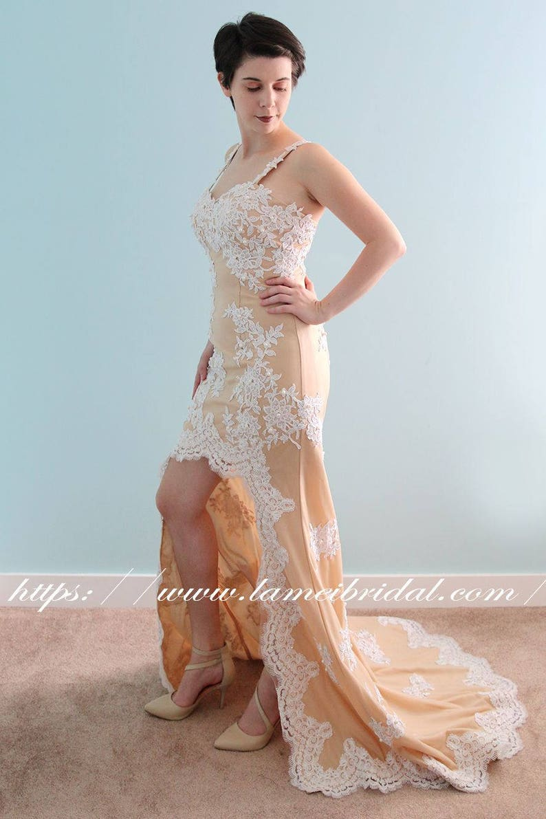 c2afcb180dd Stunning Short Front Long Back Lace prom dress Long Nude