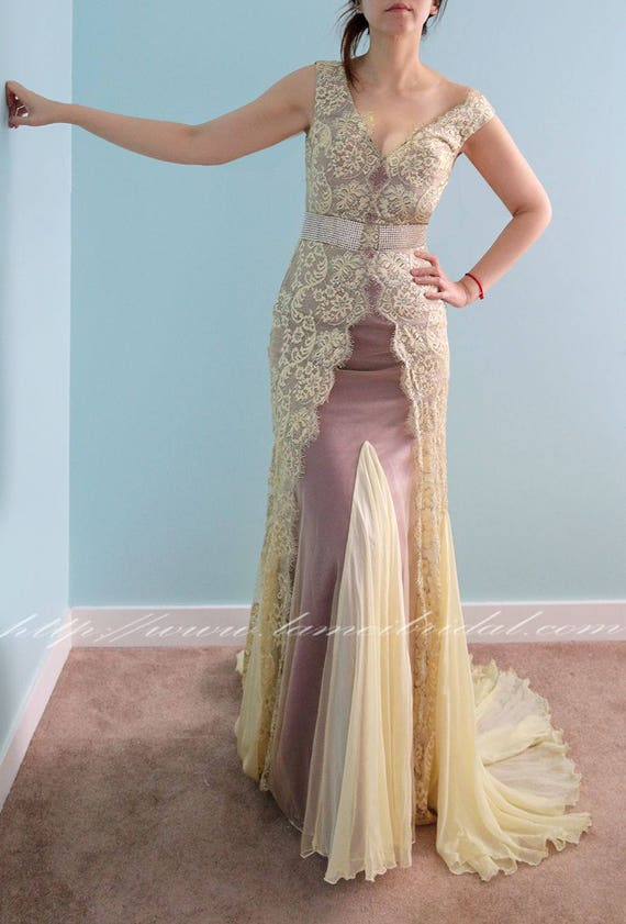 Beautiful One Piece Floor Length Sheath in Gold Lace ideal for  818b5ac08