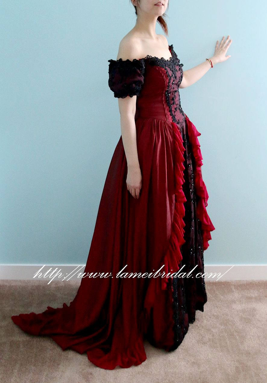 57e7ca9b68 Red and Black Gothic Princess Corset Wedding Gown with Red Hooded Cape  A-line Burlesque - L Amei 2017. gallery photo ...