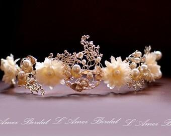 Forest Princess wedding Headband,Floral Bridal Circlet Small Wild Flower Wedding Crown Headpiece Wreath Accessory