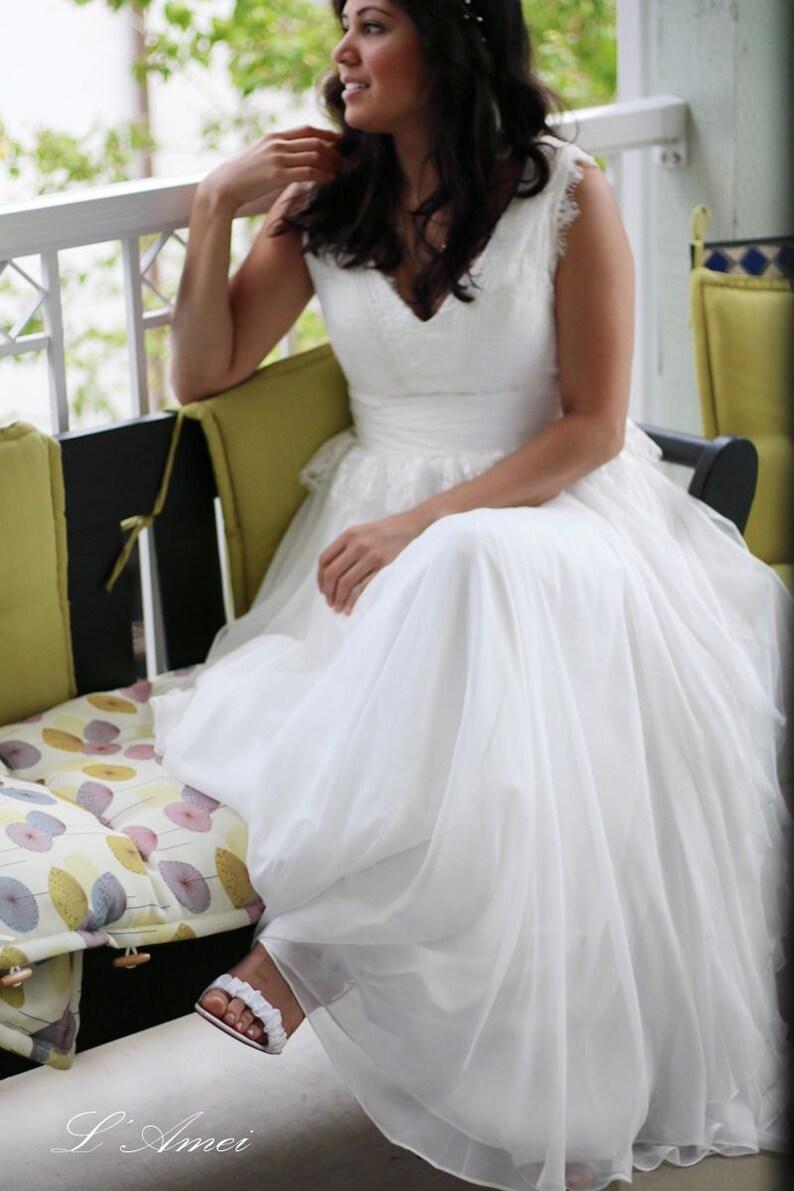 2dc2c7223e9 Custom French Lace and Silk Chiffon V Neck Boho Beach Wedding