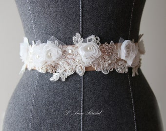 Hand Beaded Ivory White Lace with small white Flower on a Double Face Bridal Wedding Sash Ribbon belt