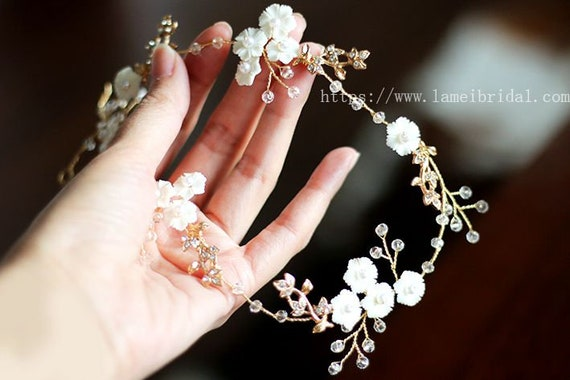Small white flower hair vine wedding circlet crown white etsy image 0 mightylinksfo