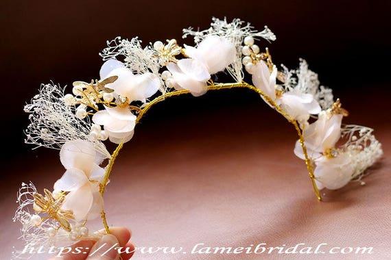 SALE-woodland Blush Flower head wreath Light Pink Bridal  3375ee61a19