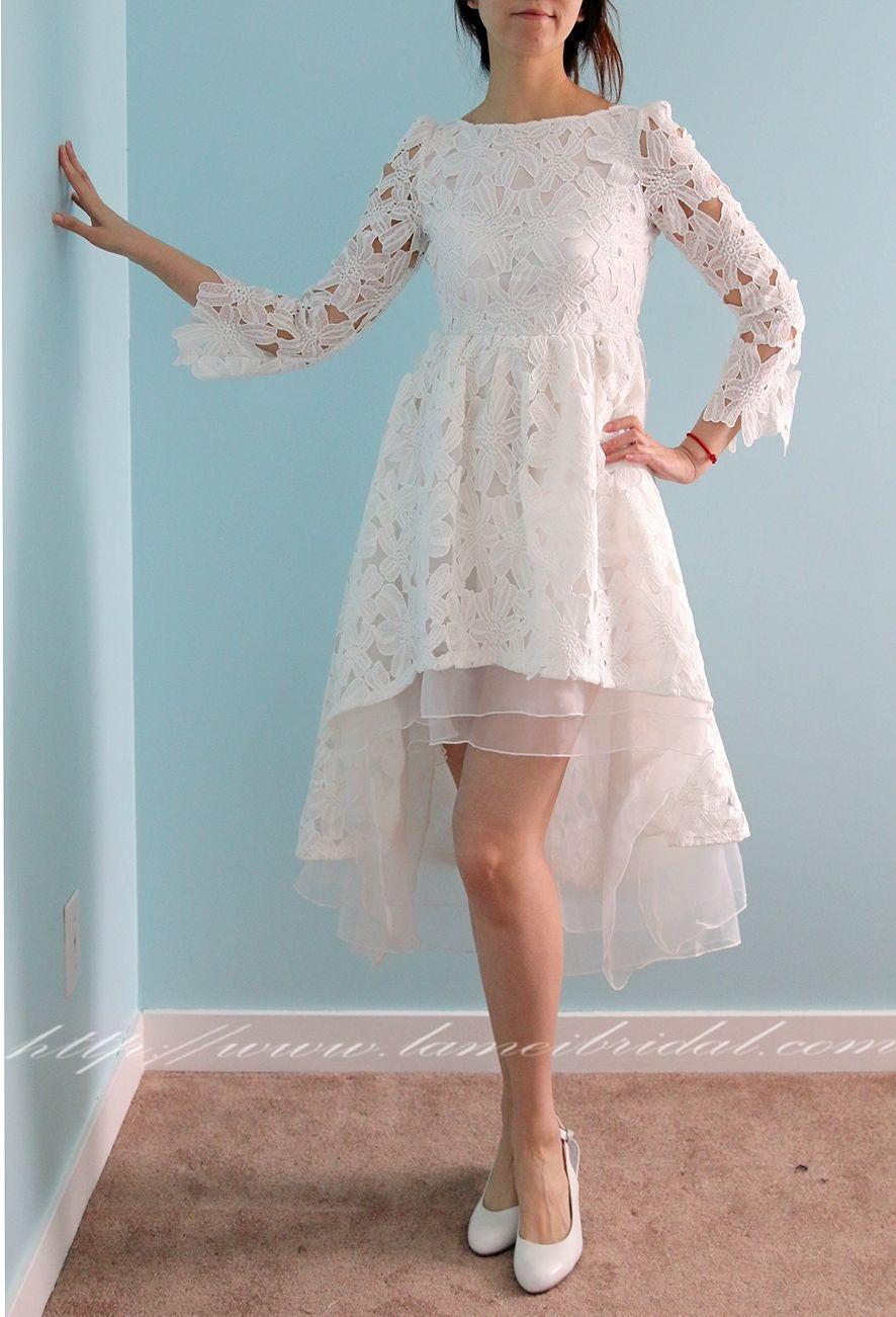 Long sleeve White Lace Dress, Mid length Long Back Short Front long back wedding Dress, Ivory White wedding party lace dress