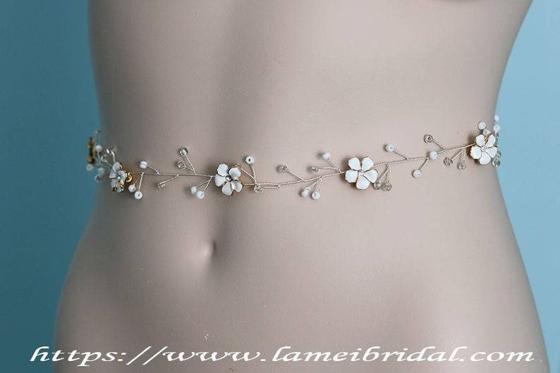 bridal sash belt Fall Rustic small white Flower Wedding dress belt Bridal headpiece Bridal vine Bridal Flower belt Flower Headpiece