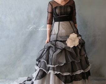 Black or Ivory Gothic Style Polka Dot Organza 3/4 Sleeve Wedding Dress Bridal Ball Gown with Satin Flower Details - YS19110077