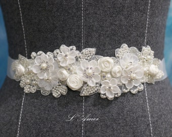 Clearance -Hand Beaded Ivory White Lace Flower wedding dress belt on a Double Face ribbon,Ivory Bridal Sash Ribbon, wedding dress belt