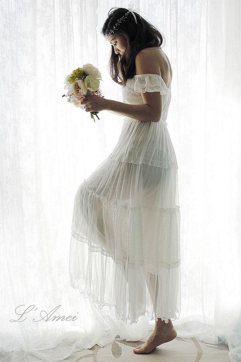 Affordable Simple Boho Style Ivory Lace Beach Wedding Or Honeymoon Dress