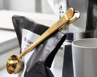 Gold Coffee Bag Clip with Spoon Scoop