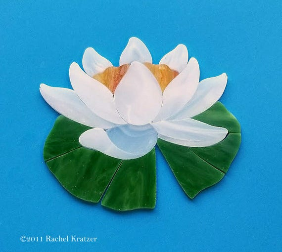 Stained Glass Mosaic Supply Kit Water Lily Lotus Flower Precut Etsy