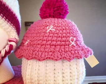 b56dafe72a115 Pink Ribbon Cupcake Hat