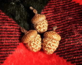 Tiny Crocheted Acorns