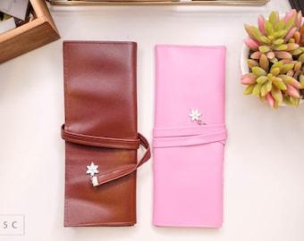 Flower Sakura Pink/Brown Pen Roll