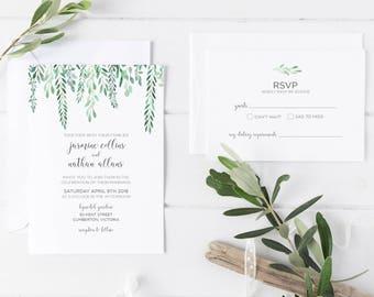Wedding Invitations   Printable Wedding Invitation   Customised   Wedding Invitation   Wedding Invitation Set   Hanging Leaves Suite