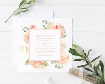 Wedding Invitations | Printable Wedding Invitation | Customised | Wedding Invitation | Wedding Invitation Set | Peaches and Cream Suite