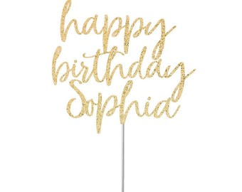 Happy Birthday Cake Topper, Glitter Cake Topper,Happy Birthday Topper, Birthday Party Decor, Gold Glitter Birthday Topper, Celebrate, Custom