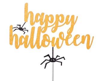 Happy Halloween Cake topper, Halloween decor, Halloween cake topper, bat for cake decoration, Spider, Glitter Cake Topper, Spider Web