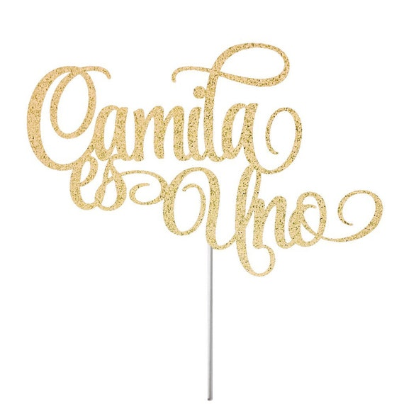 Uno First birthday cake topper Nombre Spanish Gold Glitter Personalized One Cake Topper Gold glitter cake topper Any Number and Name