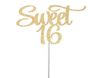 Sweet 16 Cake Topper, Happy Sweet 16, Birthday Cake Topper, Sweet Sixteen, 16th Birthday Party, Sweet 16 Party Decorations, Sweet 16 Gold