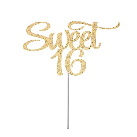 Pleasant Sweet 16 Cake Topper Happy Sweet 16 Birthday Cake Topper Etsy Personalised Birthday Cards Epsylily Jamesorg