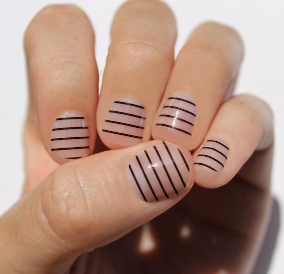 Black Stripes Nail Wraps | Etsy