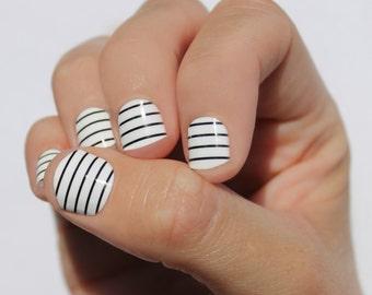 White & Black Stripes Nail Wraps