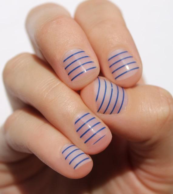 Navy Stripes Nail Wraps | Etsy