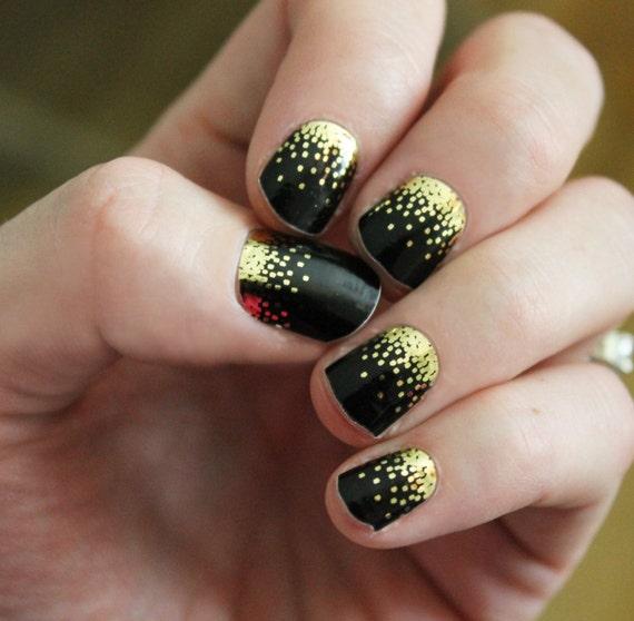 Black Sparkle Nail Wraps | Etsy