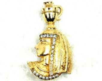 Vintage Cleopatra - Like Brooch Lady with Urn on Head, Rhinestones, Faux Pearls, Egyptian Revival,+ Gold Tone