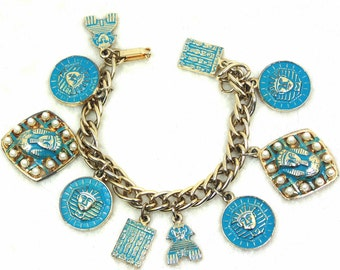Egyptian Charm Bracelet with Blue Enameled King Tut Gold Tone Charms, Faux Pearls, Foldover Clasp, Vintage