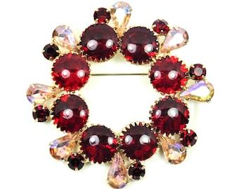 Red & Pink Rhinestone Brooch, High End, Ring Wreath Pin, Cupcake Settings,Vintage 1950s