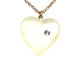 Clear Acrylic Heart Pendant with Clear Rhinestone on Gold Tone Chain