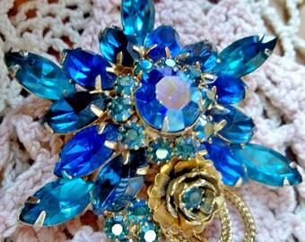 Schrager Blue Rhinestone Flower Brooch / Vintage