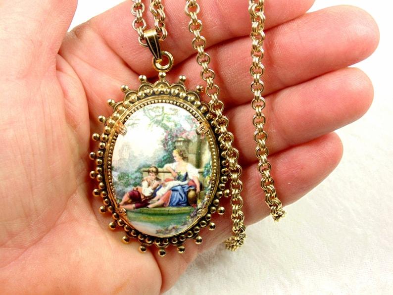 Couple Courting Long Chain Vintage Ceramic Pendant Necklace