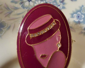 Vintage Maroon and Pink Enamel Brooch Featuring Lady