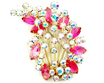 Vintage Juliana Pink Shooting Star Brooch, Glass AB Crystal Round and Marquise Rhinestones, Gold Tone Spikes, Pink D & E Pin