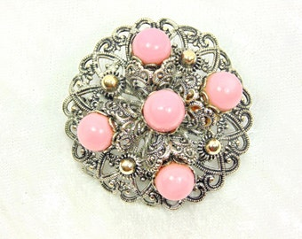 Vintage Art Deco Brooch with Pink Glass Orbs
