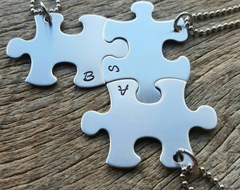 Puzzle Piece  Initials only Hand Stamped Necklaces -Choose Your Quantity- Best Friends, Birthdays, Graduation