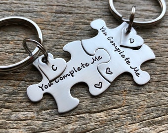 Customizable Couples Custom Puzzle Piece key Chain Set Hers and His You Complete Me with Initial Hearts anniversary gift for Him Personalize
